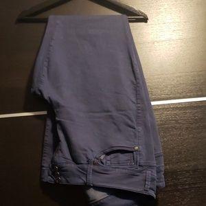 Navy trouser, flare legged jeans